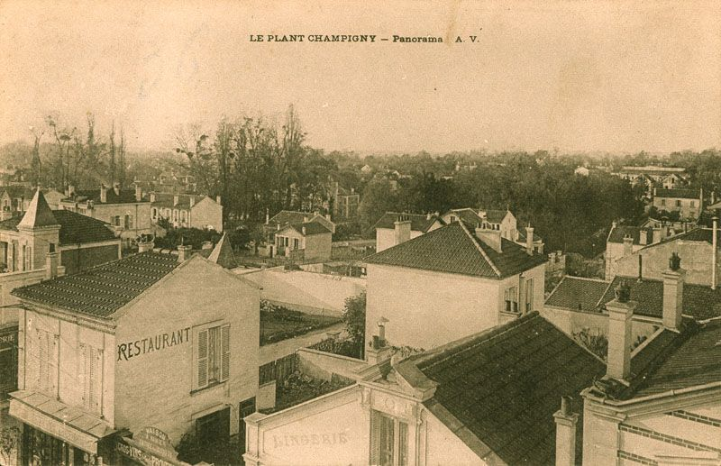 Le Plant-Champigny, panorama. Carte postale, vers 1908. (AD Val-de-Marne. 2Fi Champigny 71)