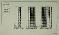 Quartier 1, des Ecrivains. Façades des tours. (Archives Nationales, Direction de l'Habitat et de la Construction, 19840091/58-59)